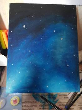 A Simple Night Sky with Acrylic