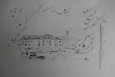 Skizze Ruine hinter dem Bahnhofsgelnde