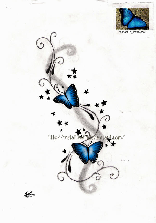 butterfly tattoo coloured by metalhead99 on deviantart. Black Bedroom Furniture Sets. Home Design Ideas