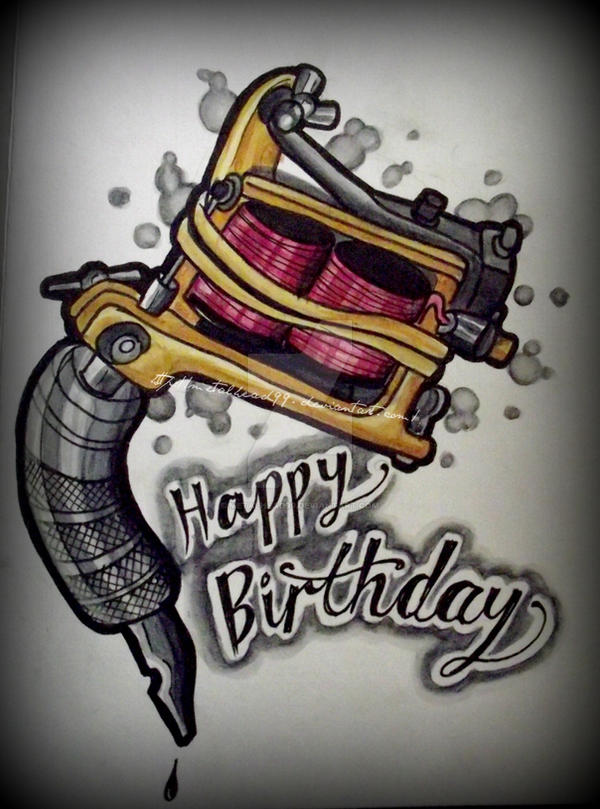 tattoo machine card by metalhead on deviantart, Birthday card
