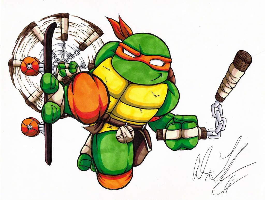 Ninja turtle michelangelo drawing - photo#2