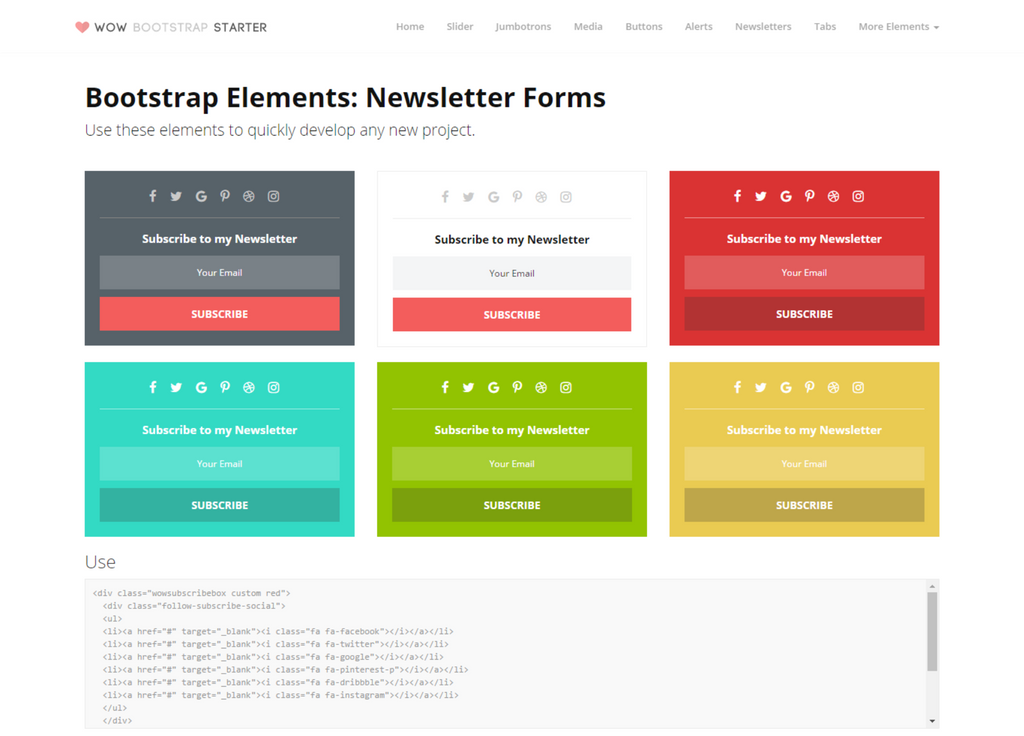Wow Bootstrap Starter Kit Newsletters