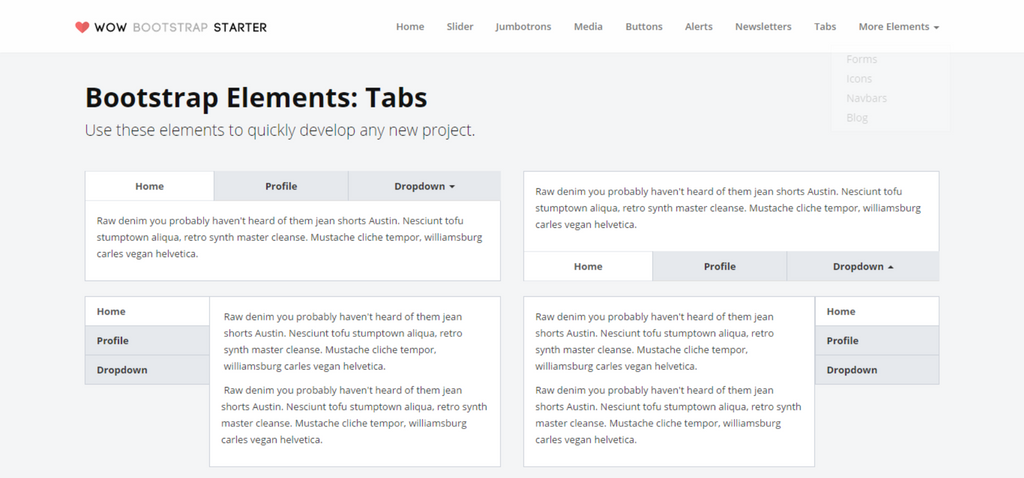Wow Bootstrap Starter Kit Tabs