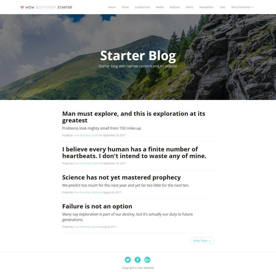 Wow Bootstrap Starter Kit Blog