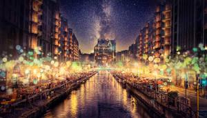 Golden night lights