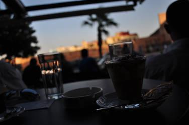 Having a coffee in Meknes