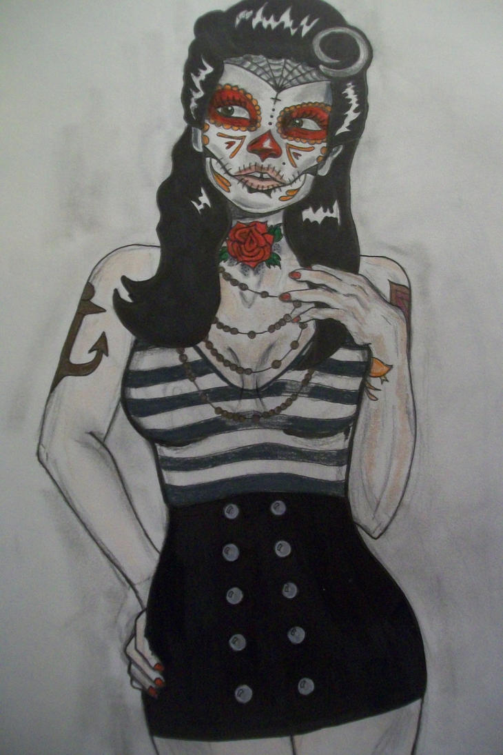 Pin Up Sugar Skull Tattoo