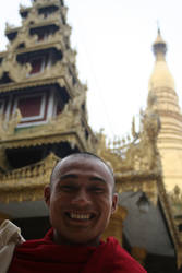 Burmese monk at shwedagon by shanti1971