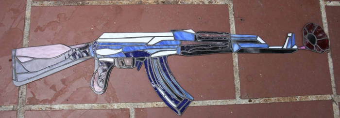 stained glass AK47 with poppy