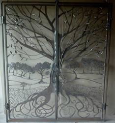 Tree gate wrought iron