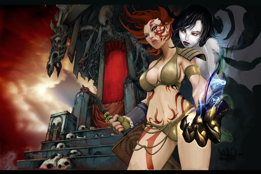 tehra the dark warrior by paulobarrios