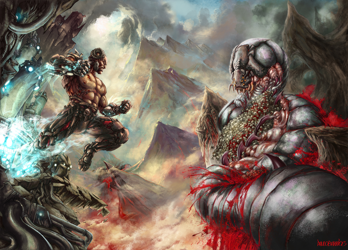 cyborg vs worm titan by paulobarrios