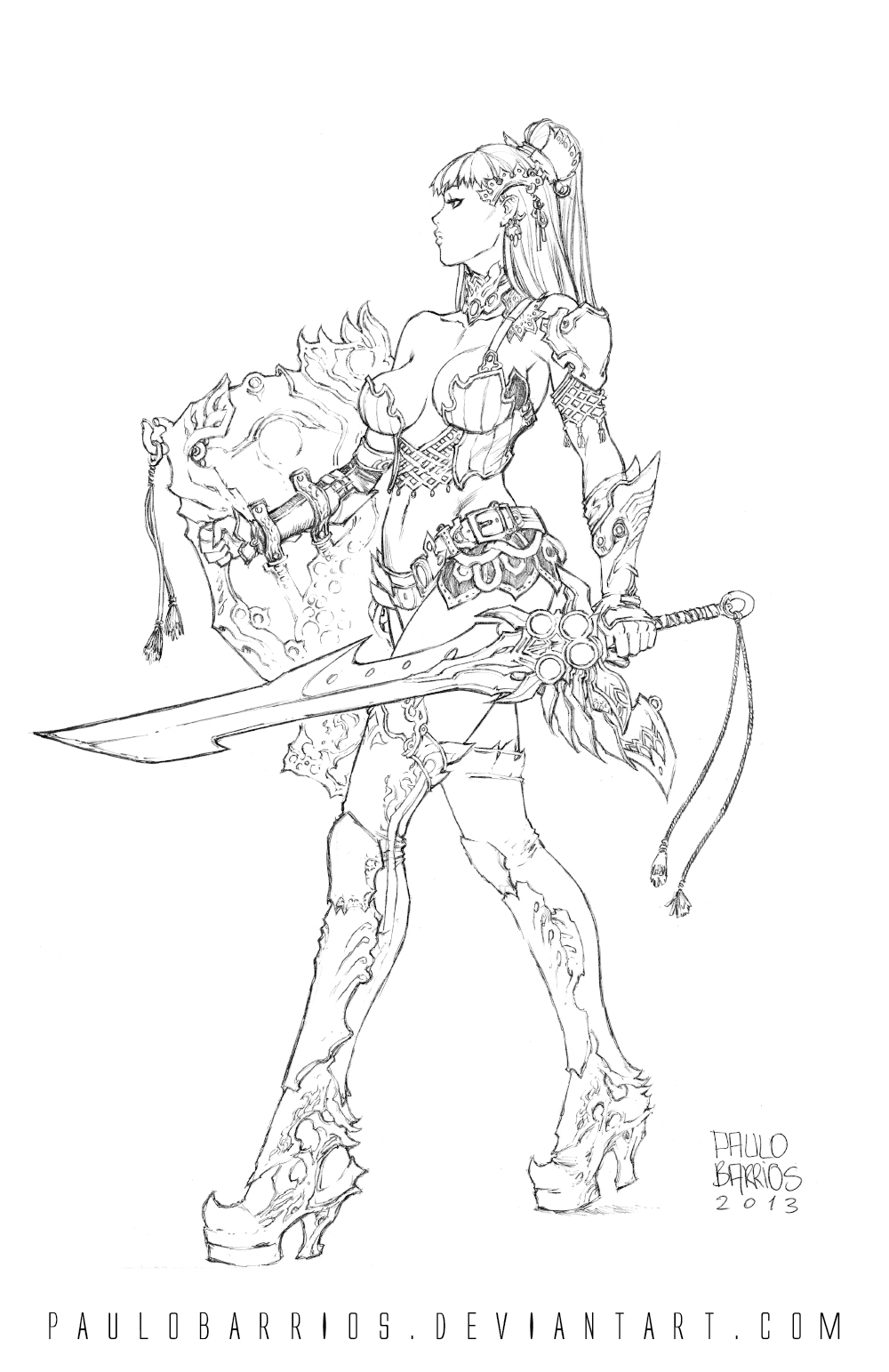 girl fantasy rpg in pencils by paulobarrios