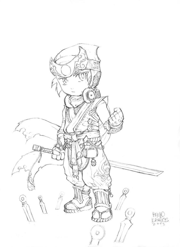 kid ninja sketch by paulobarrios