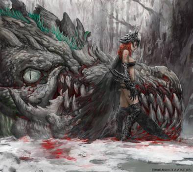 medieval Batgirl vs joker dragon