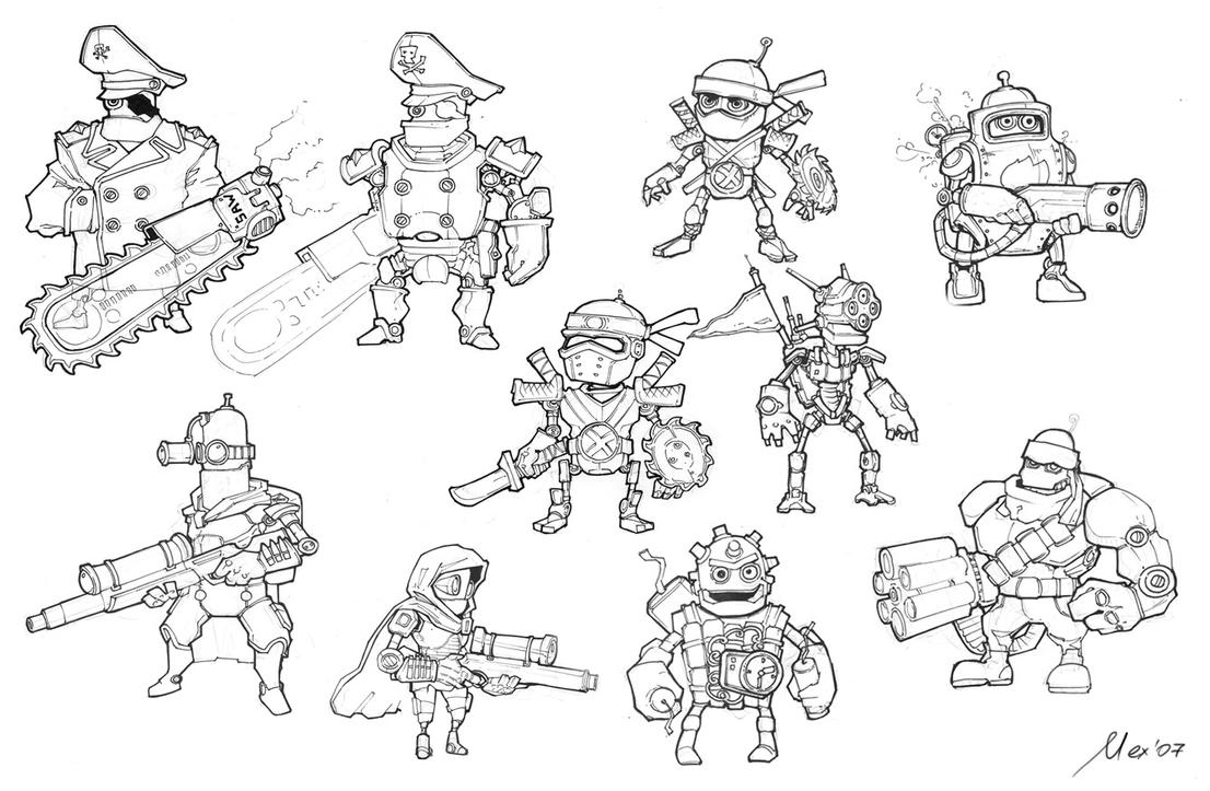 Robocalypse sketches by Sidxartxa