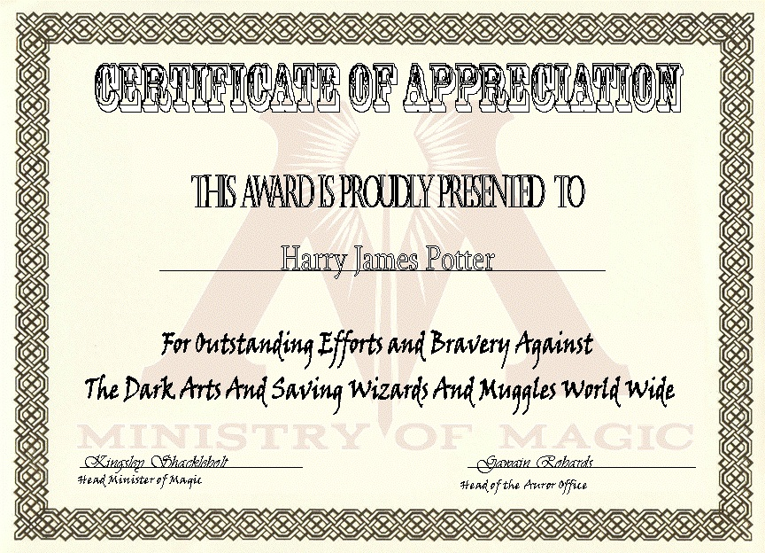 Ministry Of Magic Certificate Of Appreciation By Thebannanaking On