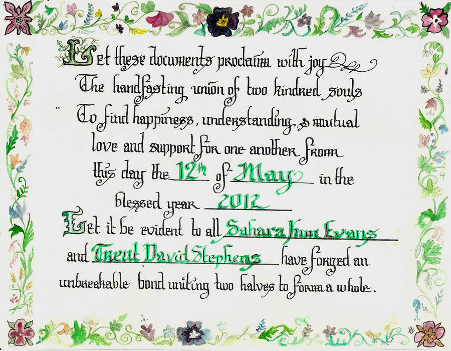Handfasting Certificate By Akuppersmith On Deviantart
