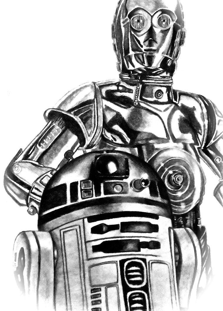 C3P0 and R2D2 by skywalkergirl1 on DeviantArtR2d2 And C3po Drawing