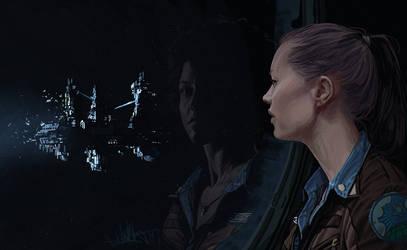 Alien Isolation fan art: awaiting by kopfstoff