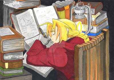 Edward Elric sleeping by Clairvoyantartistry