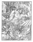Conan in the courtyard pencils