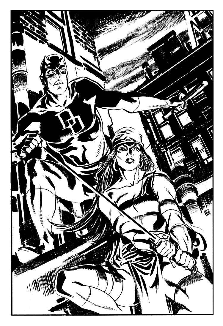 Daredevil and Elektra by deankotz
