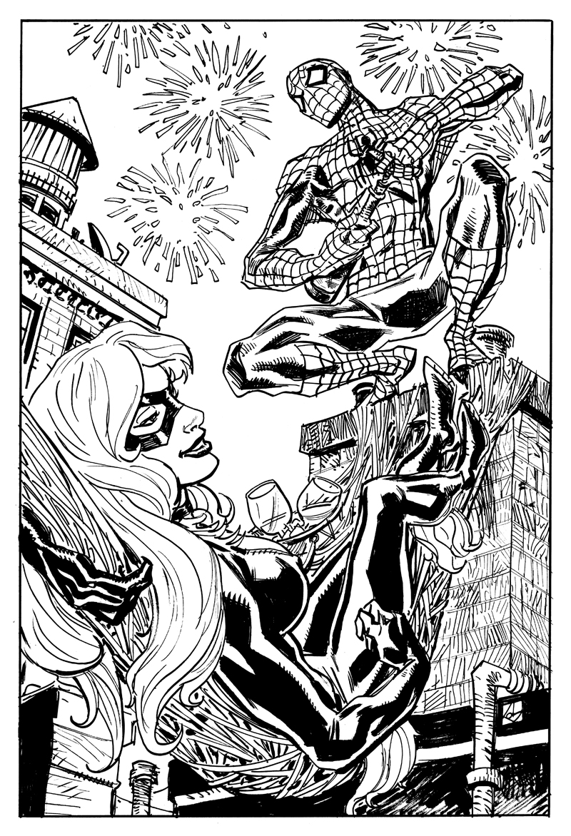 spider man and black cat fireworks by deankotz on deviantart