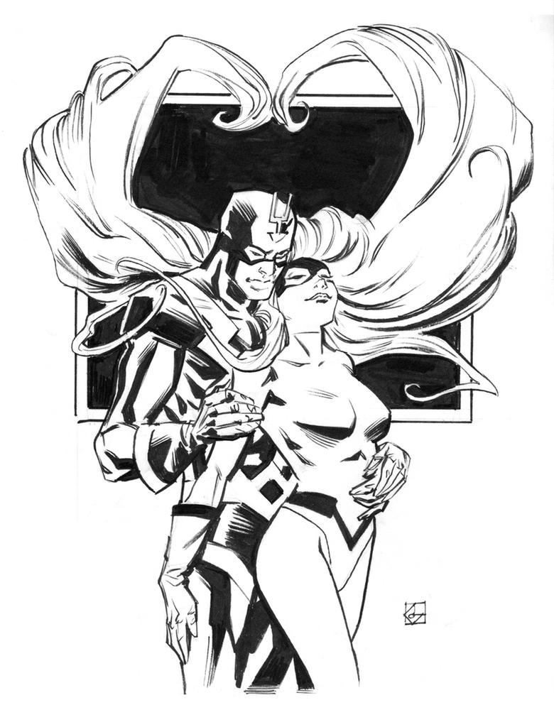 Inhumans sketch week: Black Bolt and Medusa by deankotz