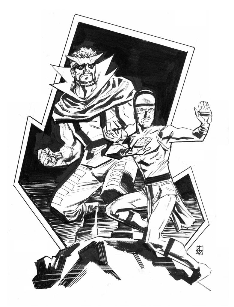 Inhumans sketch week: Gorgon and Karnak by deankotz