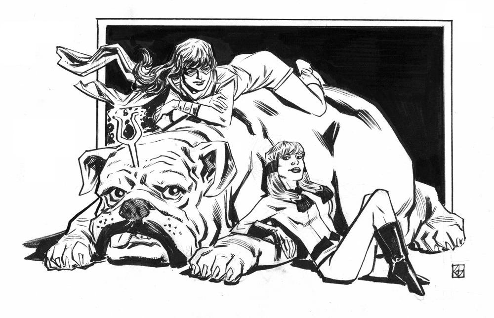 Inhumans sketch week: Lockjaw, Crystal, and Kamala by deankotz