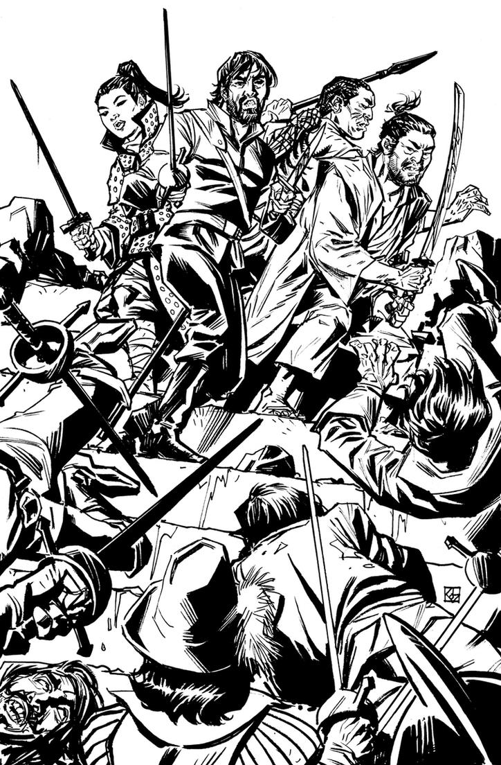 Cimarronin Fall of the Cross #3 Cover BW by deankotz