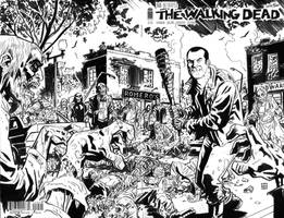 Walking Dead Negan and  Lucille Sketch Cover by deankotz