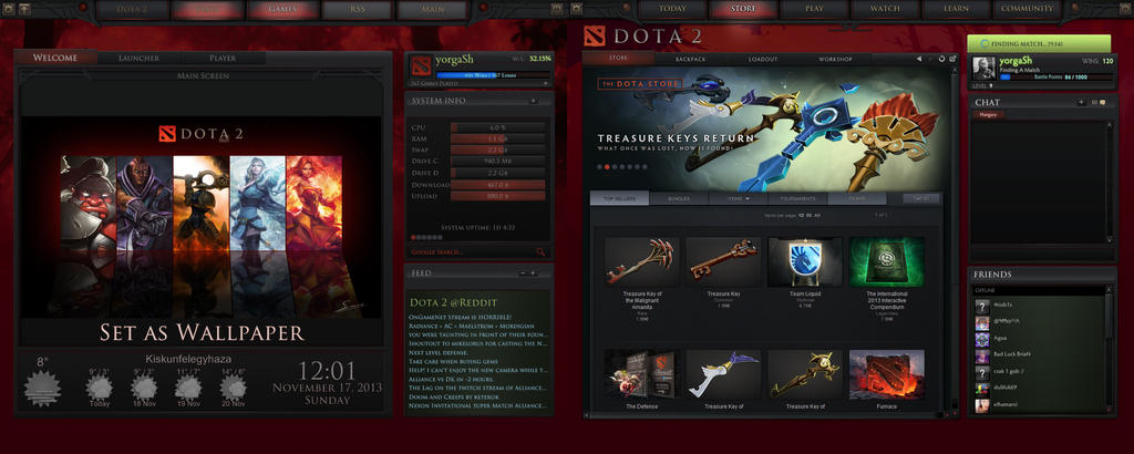 a comparison of the dota2 menu and my rainmeter by yorgash on