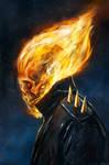 The Rider's Flaming Skull