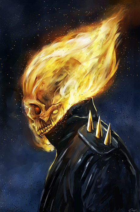 The Rider's Flaming Skull by carstenbiernat
