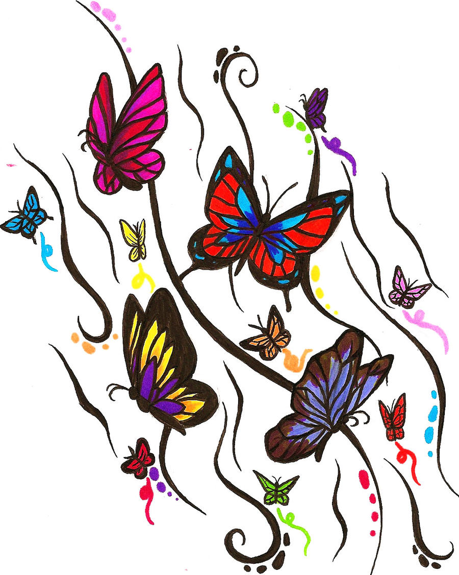 Butterfly design of awesome by ajbluesox on deviantart for Cool drawings of butterflies