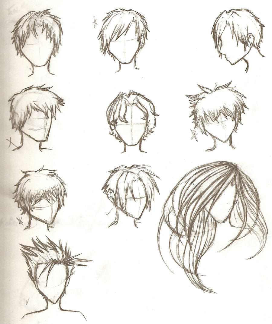 hair sketches by ajbluesox on deviantart