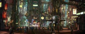 scifi city center by landobaldur