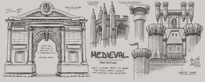 medieval architecture sketches