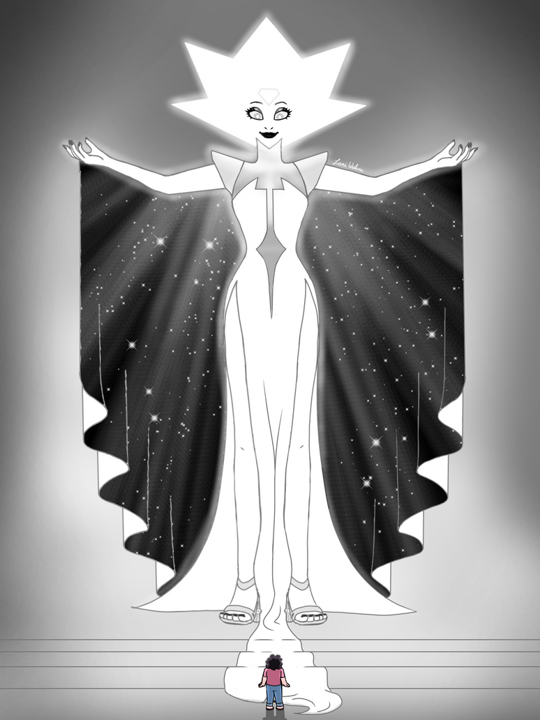 I was planning on re-drawing my old theoretical White Diamond drawing when I heard about Legs From Here to Homeworld. So, I watched it and... White is more beautiful and stragely intimidating that ...