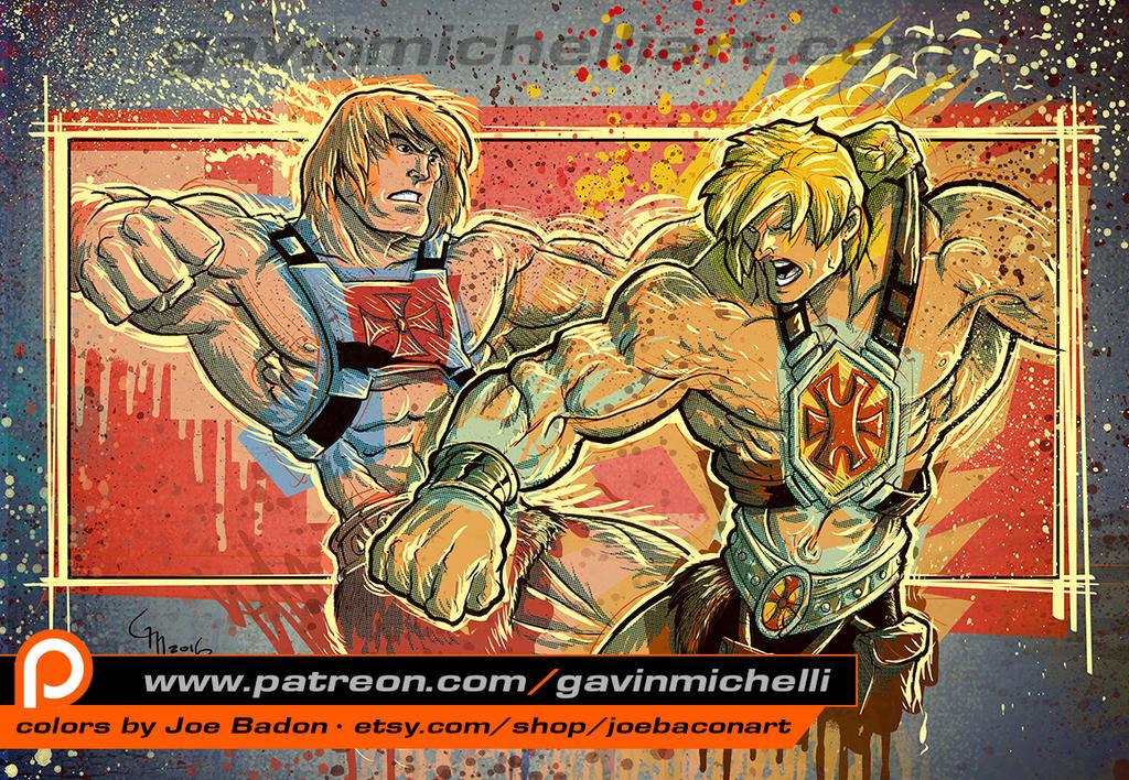 He-man V He-man with colors by Joe Badon by GavinMichelli