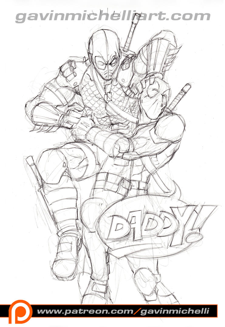 Deathstroke and deadpool by gavinmichelli on deviantart for Deathstroke coloring pages