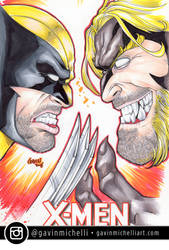 Wolverine vs Sabertooth Marker Sketch Cover