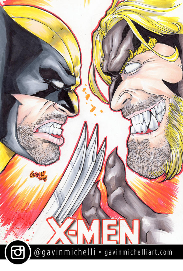 Wolverine vs Sabertooth Marker Sketch Cover by GavinMichelli
