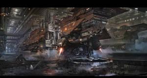 Science fiction shipyard by gliulian