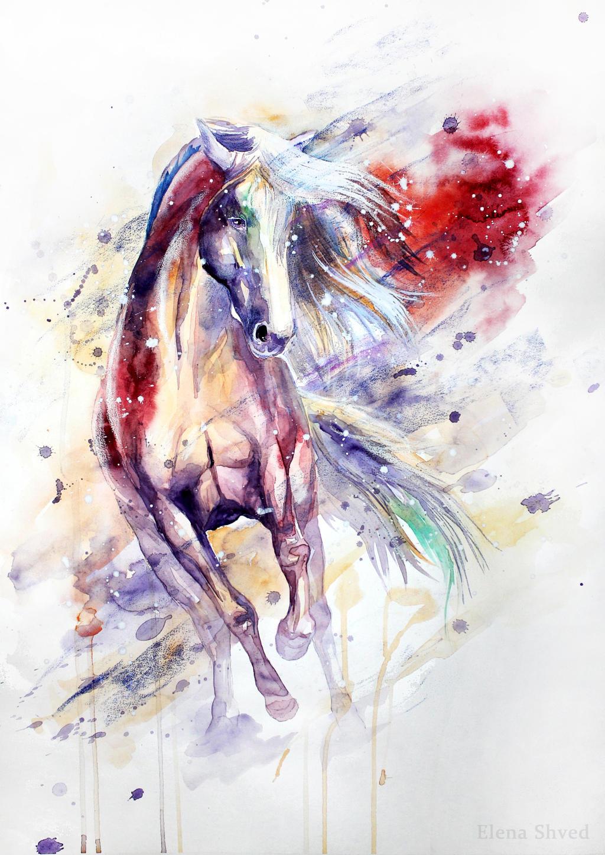 dessin tatouage de cheval drole