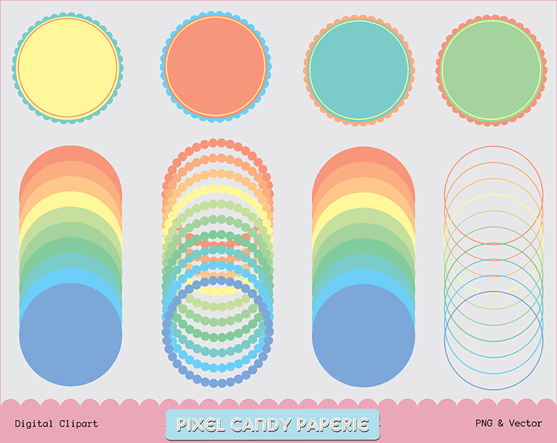 Free Scalloped Frames Colored Clip Art Set No 2 by pixelcandypaperie ...