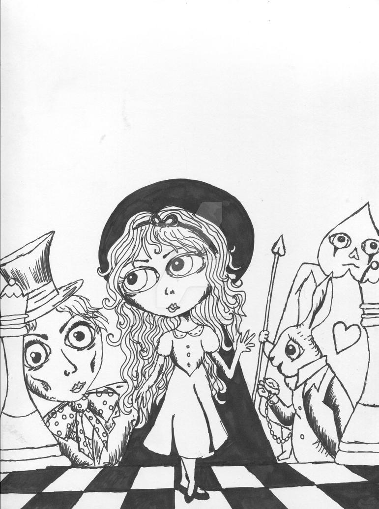 Alice In Wonderland- outline by eszalkowski229