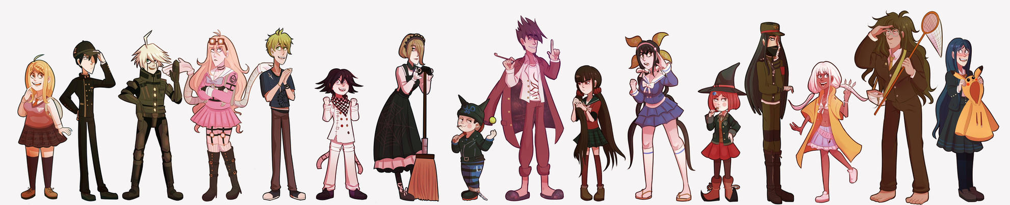 NDRV3 characters lineup by Miss-Ponytails
